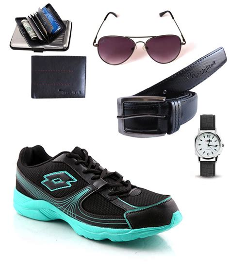lotto black synthetic leather running sport shoes with