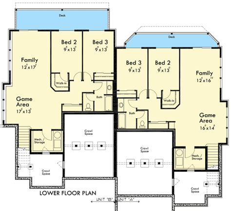 up down duplex floor plans duplex for a down sloping lot 8188lb architectural