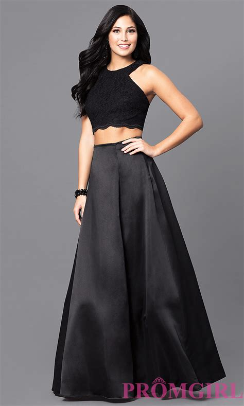 design homecoming dress two piece long black designer prom dress promgirl