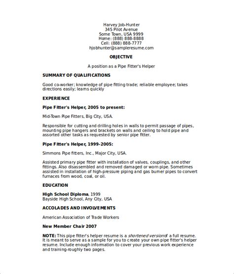 Pipefitter Resume Sle by Journeyman Pipefitter Resume 28 Images Pipefitter Resume Templates Free Premium Templates