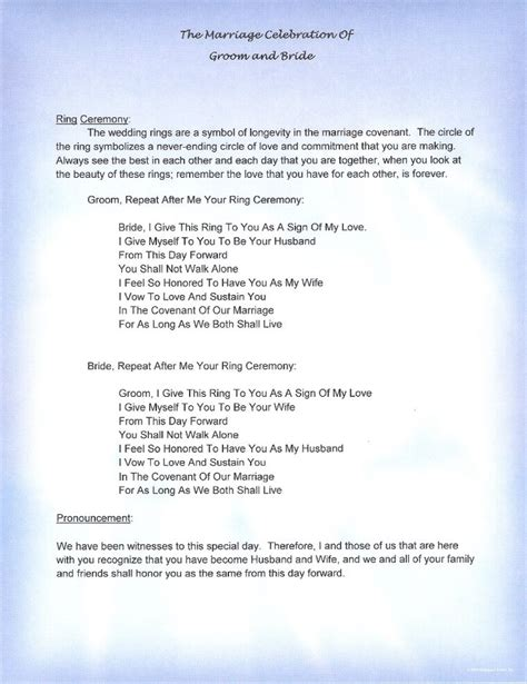 Wedding Vows Script by Wedding Vows Non Religious Mini Bridal