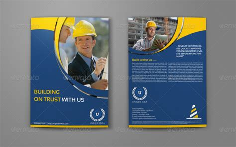 construction company brochure bi fold template by
