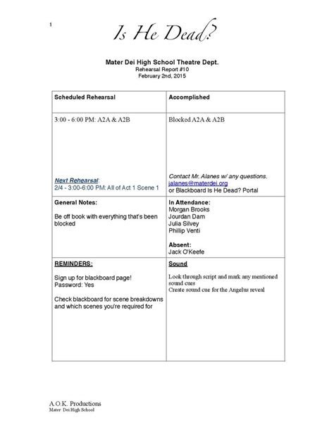 rehearsal report template 1000 images about stage management on posts