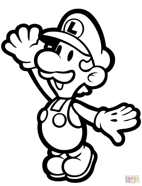 paper mario coloring pages to print paper luigi coloring page free printable coloring pages