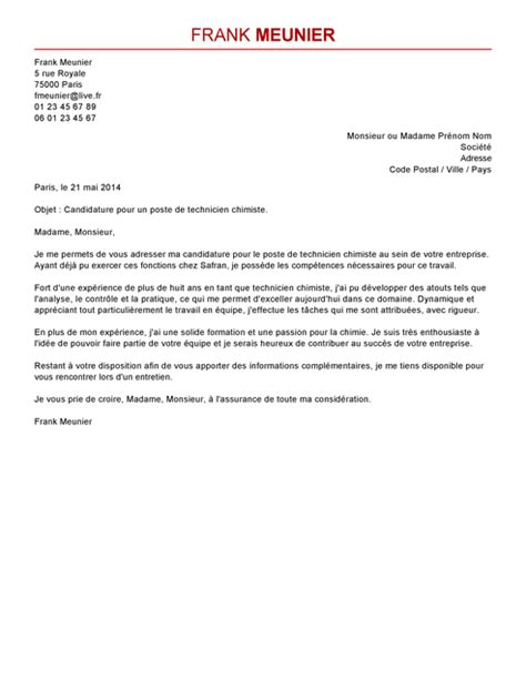 Lettre De Motivation Stage Technicien Laboratoire Lettre De Motivation Chimiste Exemple Lettre De Motivation Chimiste Livecareer