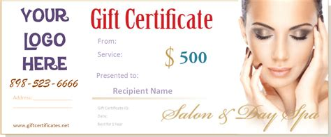 Spa Gift Certificate Templates Cosmetology Certificate Template