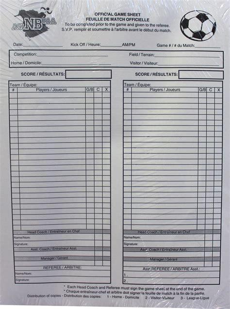 Soccer Referee Score Card Template by Nbiaa Asinb