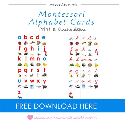 printable montessori language cards free montessori alphabet cards with print and cursive