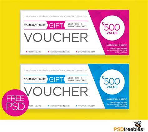 gift certificate psd template free clean and modern gift voucher template psd