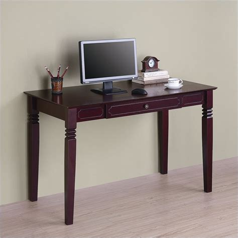 walker edison solid wood writing walnut brown