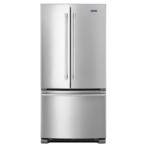 maytag 33 in w 22 cu ft french door refrigerator in