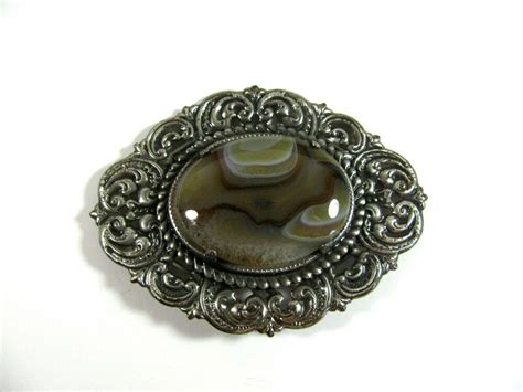 vintage antique sted metal silver agate