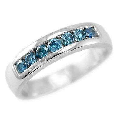 0 80ct channel set mens blue wedding band ring