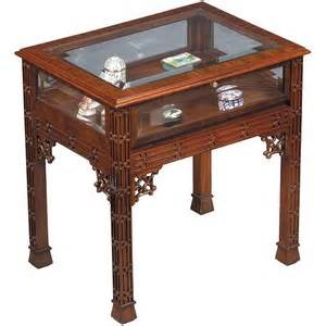 Antique Curio Cabinet With Glass Doors Vitrine End Table Curio Glass Top Buccellati Polyvore