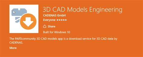 cadenas partsolutions solidworks first 3d cad model app for windows 10 is now available