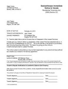 Lease Notice Saskatchewan Notice To Vacate Lease Ez Landlord Forms