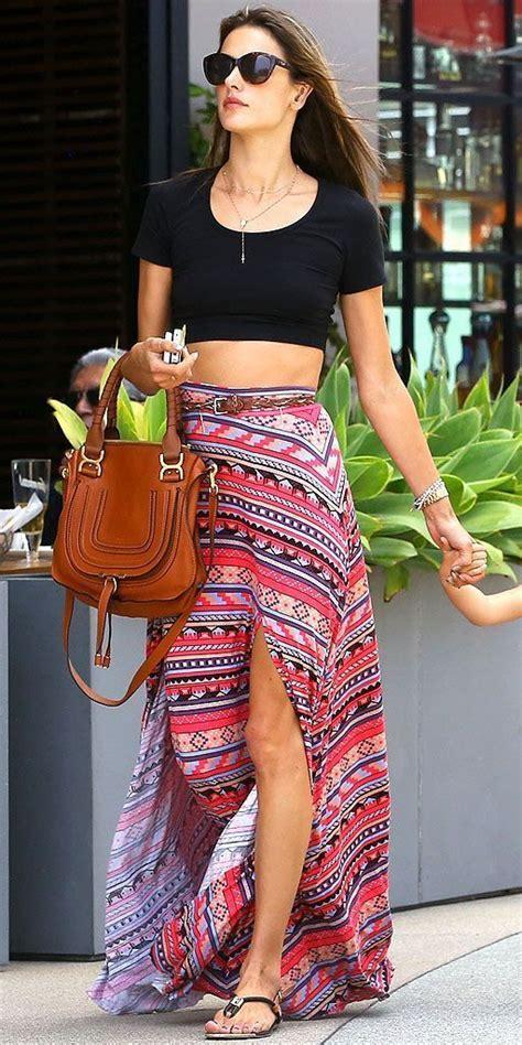 black crop top and high waist maxi skirt i me some