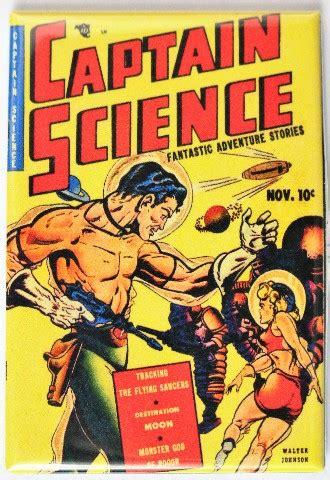 captain science comic book fridge magnet sci fi pulp