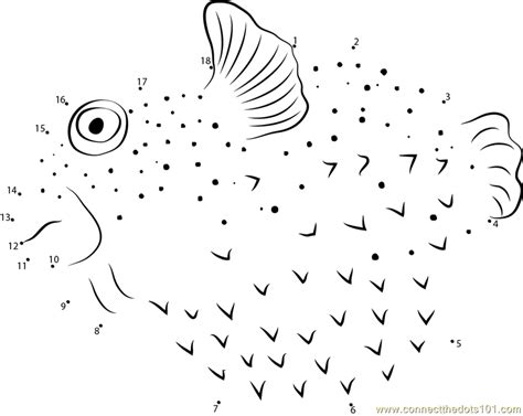 printable dot to dot fish pufferfish dot to dot printable worksheet connect the dots