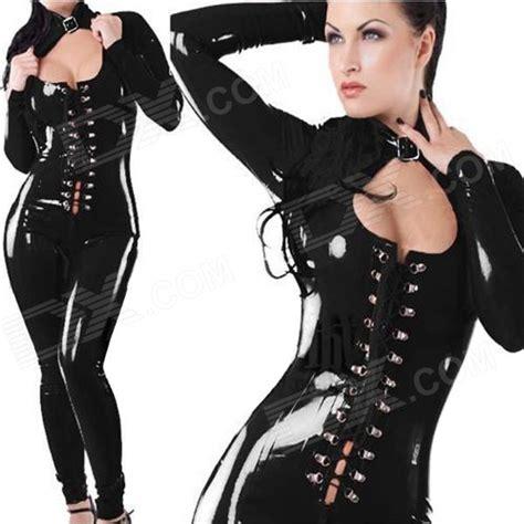 Jual Costume lt62 s elastic low cut zipper back patent leather costume suit black free