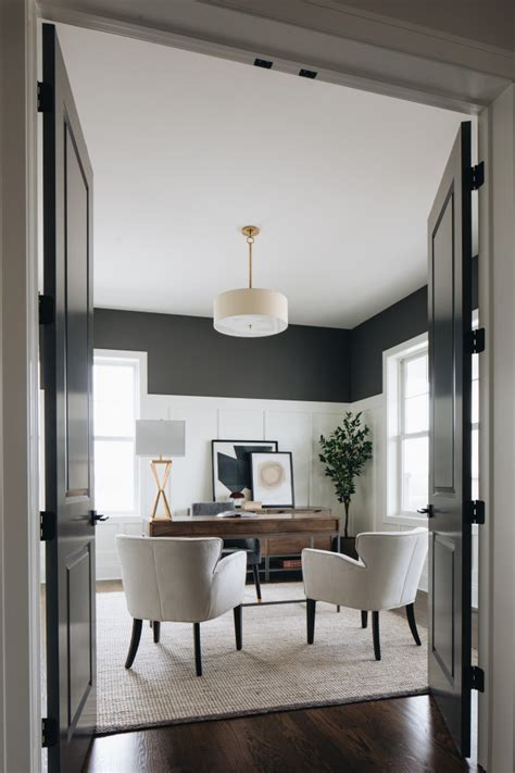 board  batten transitional home office chicago