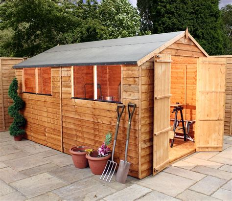 overlap apex shed  double doors  windows