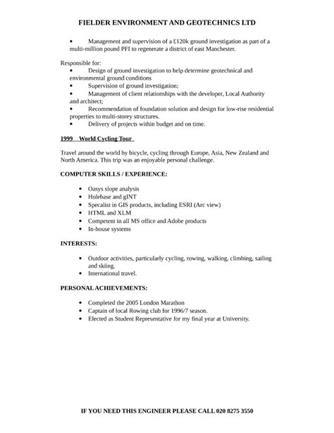 Marine Geotechnical Engineer Sle Resume by Geotechnical Engineer Resume Sales Technical Lewesmr