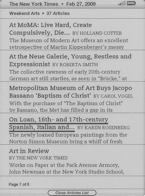 new york times art review section kindle content design