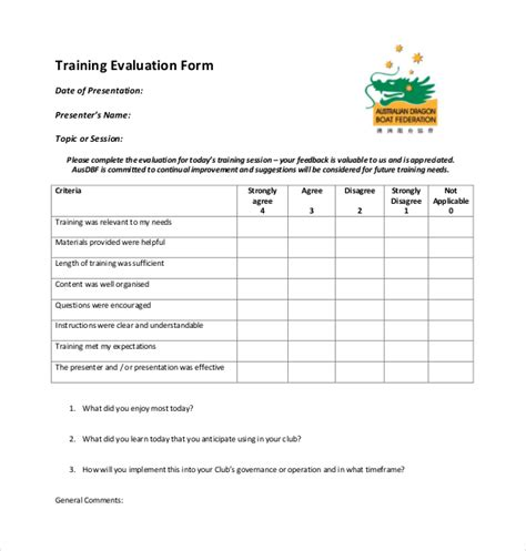 19 sle training evaluation forms sle forms