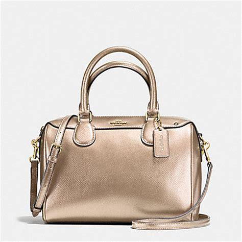 Coach Mini Bennet Mustrad coach f56125 mini satchel in metallic leather imitation gold platinum coach handbags