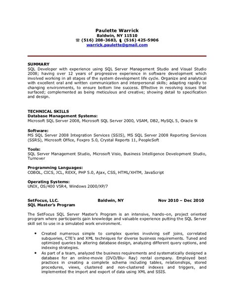sql developer resume exles paulette warrick sql developer resume