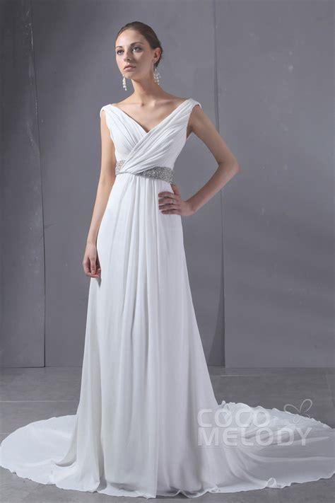 Sheath Column Chapel Train Chiffon Wedding Dress CWLT130AA