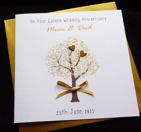 Handmade Cards Anniversary - personalised handmade golden 50th wedding anniversary