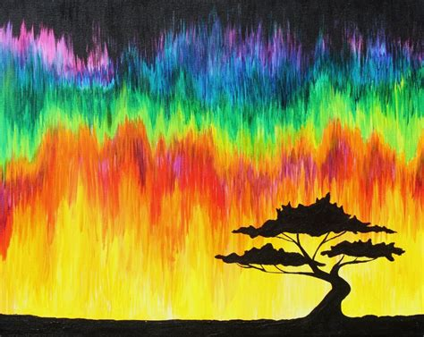 Hand Made Home Decor, Colorful Melting Sky With Tree