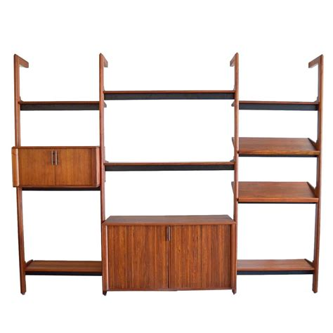 Free Standing Walnut 3 Section Shelving Unit By Barzilay Free Standing Shelving