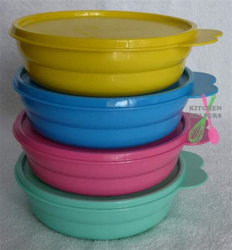 Tupperware Bowl Green 4 Mangkok Tupperware Everyday Bowls Set Of 4 Choose A Set Pink Blue Purple Green New Ebay