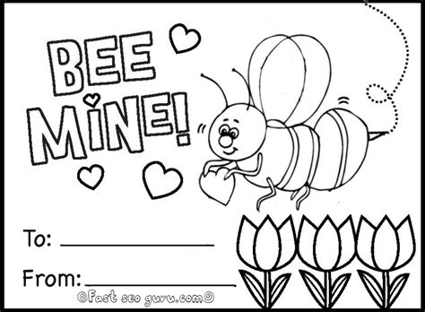 Be Mine Card Template by Bee Mine Coloring Page Coloring Pages