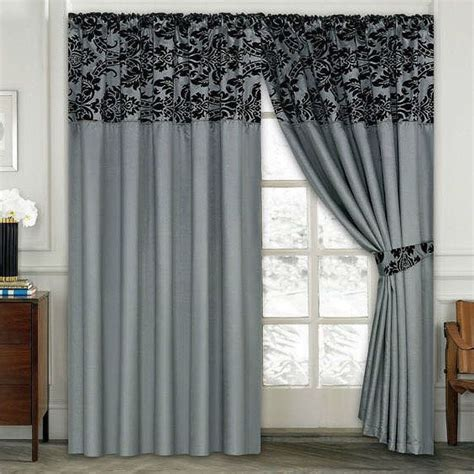 Silver Curtains For Bedroom Ideas Damask Half Flock Pair Of Bedroom Curtain Living Room Curtain Silver Black Ebay