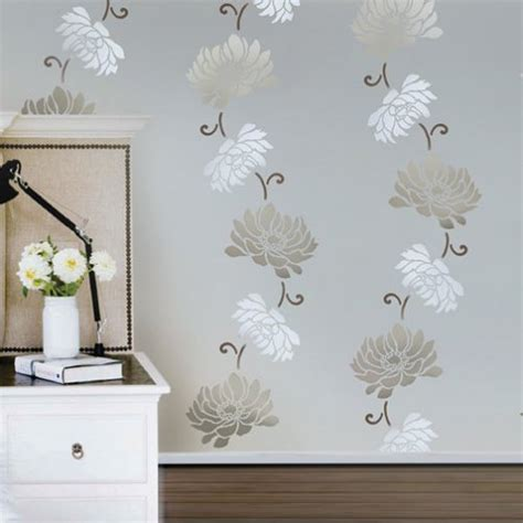 stencils for home decor flower stencil anemone stripe easy diy wall decor with