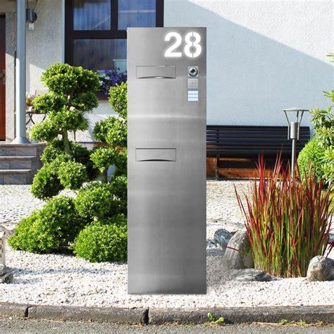 standbriefkasten modern design led edelstahl briefkastens 228 ule beleuchtet thorwa