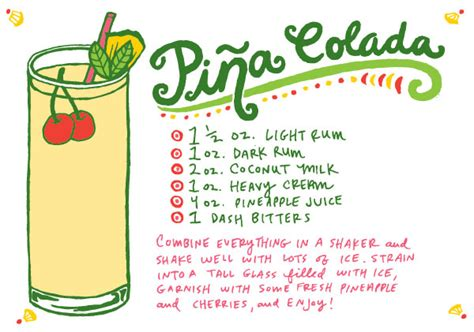 cocktail recipe cards friday happy hour coconut milk pi 241 a colada