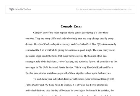 Comedy Essay by Comedy Essay A Level Drama Marked By Teachers