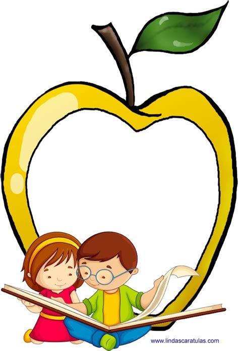 imagenes escolares clipart lindas caratulas manzanas escolares
