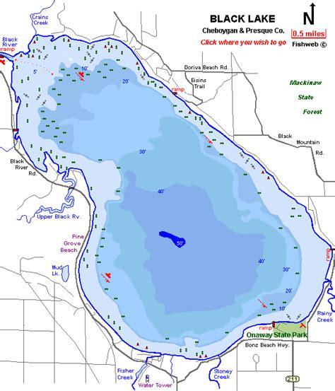 lake maps black lake fishing in michigan
