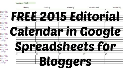 2015 Calendar Spreadsheet Free 2015 Editorial Calendar In Spreadsheets For