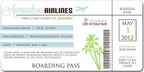 pass template 27 best airline boarding pass ticket template exles