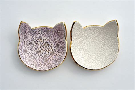 ceramic jewelry meow cat lace dish ceramic jewelry dish with gold and