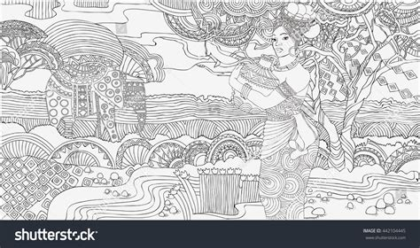 african landscape coloring page beautiful african woman background african
