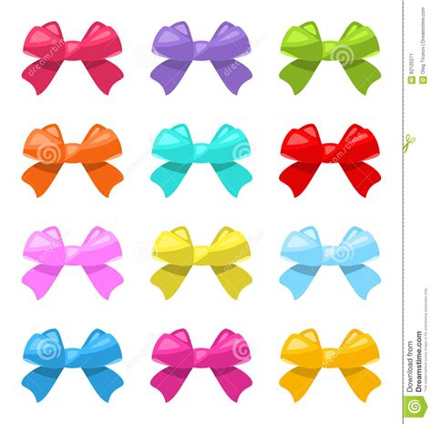 colorful bows set colorful simple gift bows isolated stock vector