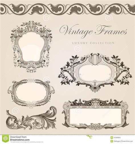 retro wedding invitation template vintage frames stock
